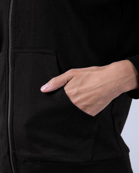 Shop Jet Black Fleece Zipper Hoodies