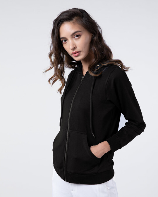Shop Jet Black Fleece Zipper Hoodies-Back