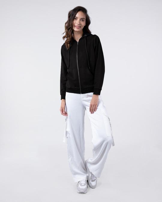 Shop Jet Black Fleece Zipper Hoodies-Full