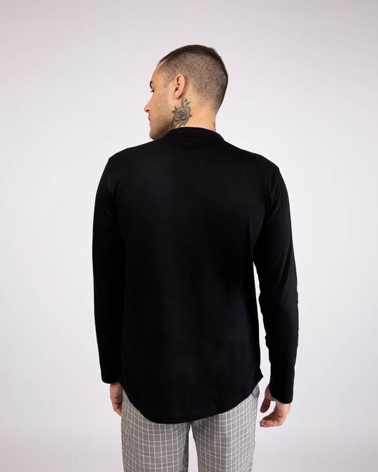 Shop Jet Black Full Sleeve Henley T-Shirt-Design