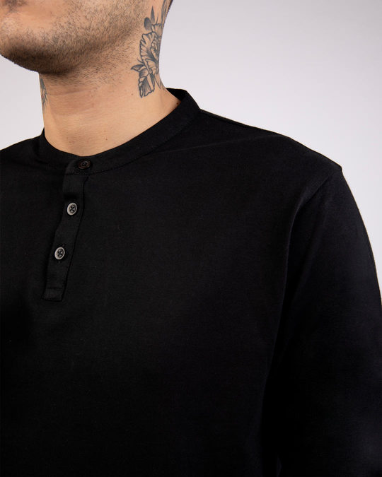 Shop Jet Black Full Sleeve Henley T-Shirt