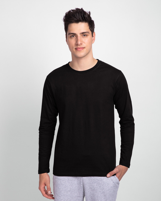 Shop Jet Black Full Sleeve T-Shirt-Front