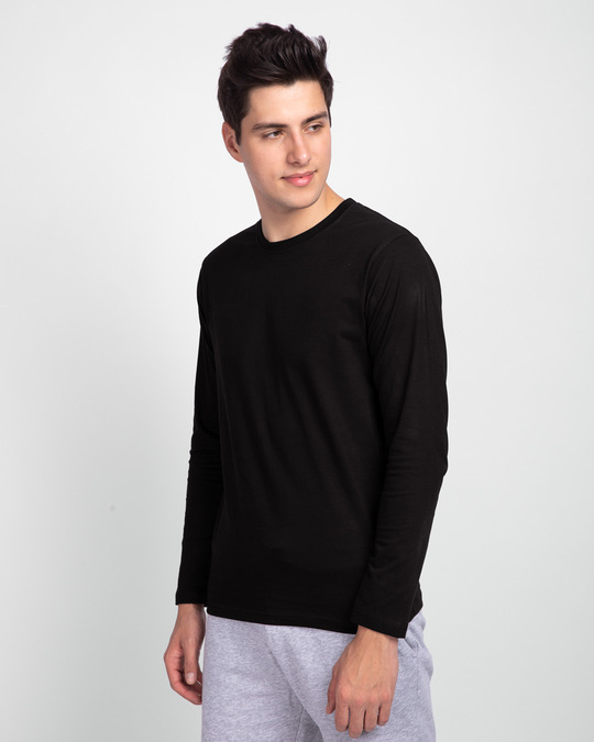 Shop Jet Black Full Sleeve T-Shirt-Back