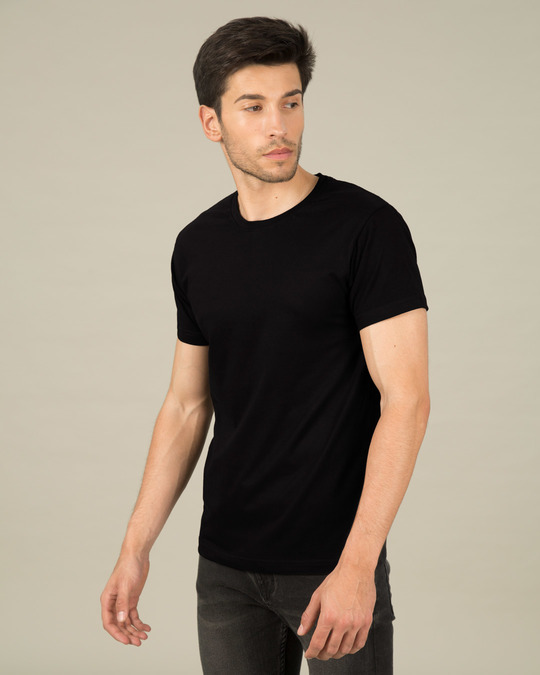 Shop Jet Black Half Sleeve T-Shirt-Back