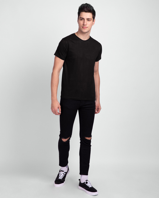 Shop Jet Black Half Sleeve T-Shirt-Full