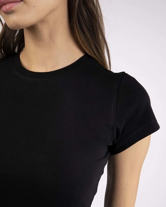 Shop Jet Black Half Sleeve T-shirt