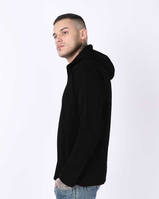 Shop Jet Black Henley Hoodies-Back