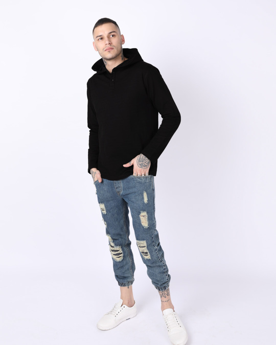 Shop Jet Black Henley Hoodies-Full