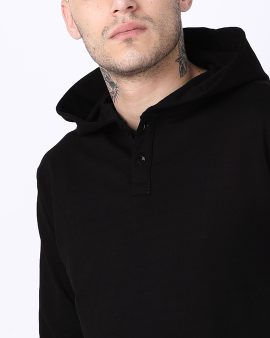 Shop Jet Black Henley Hoodies