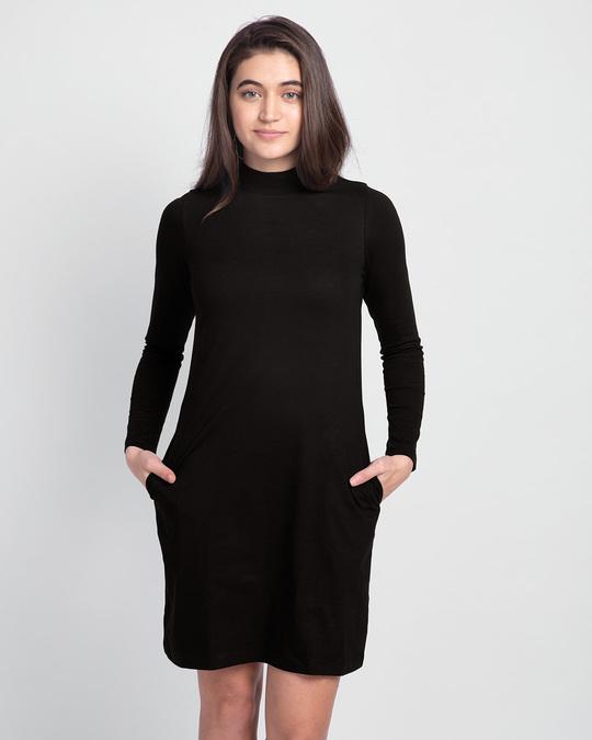Shop Jet Black High Neck Pocket Dress-Front