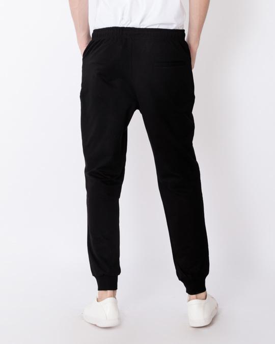 Shop Jet Black Knee Zipper Fleece Joggers-Design