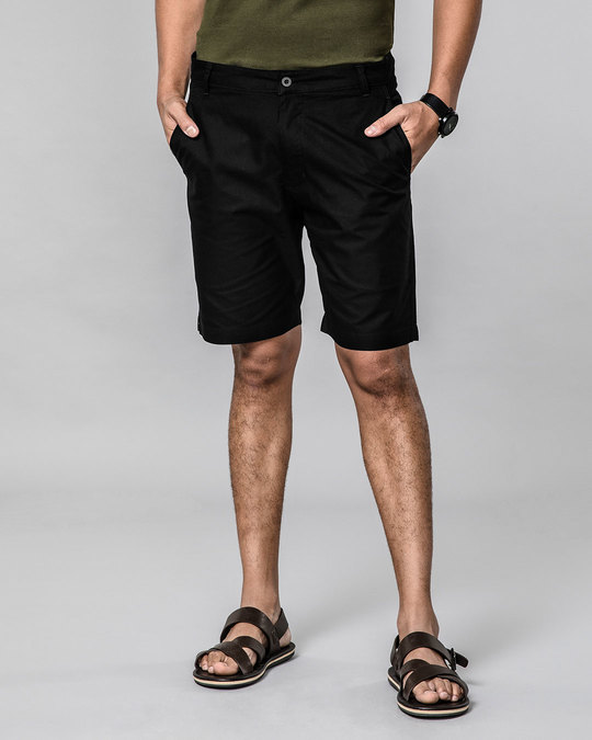 Shop Jet Black Lightweight Slim Oxford Shorts-Back