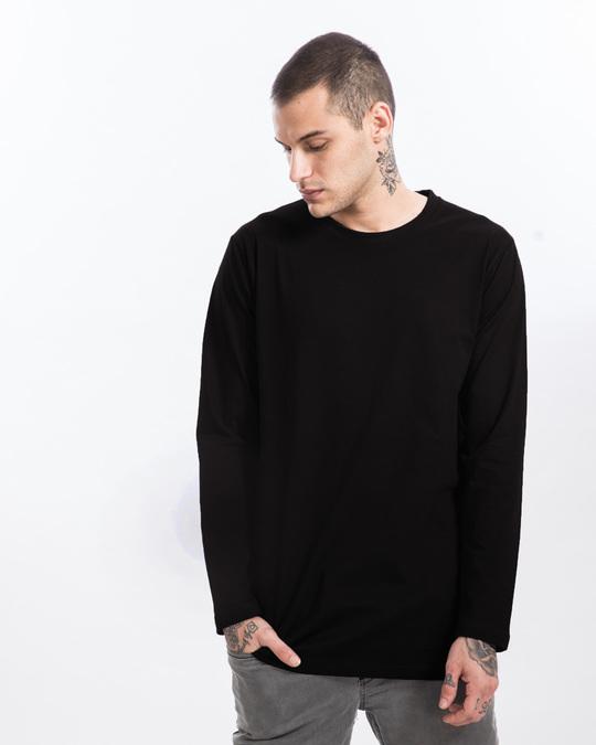 Shop Jet Black Longline Full Sleeve T-Shirt-Front