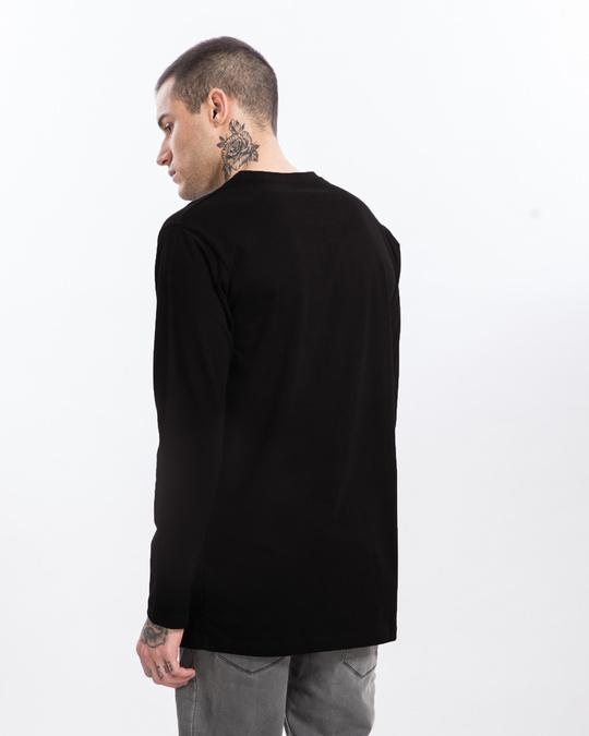 Shop Jet Black Longline Full Sleeve T-Shirt-Full