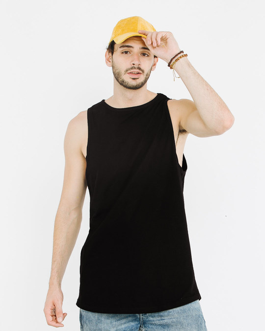 Shop Jet Black Plain Longline Vest-Front