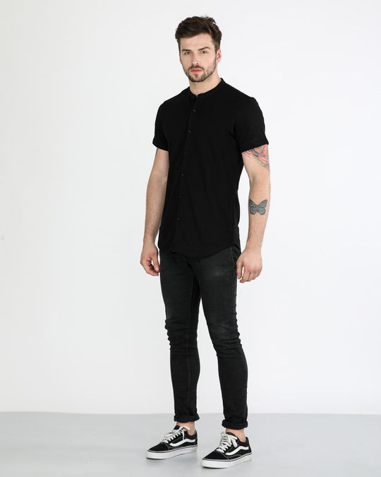 Shop Jet Black Mandarin Collar Pique Shirt
