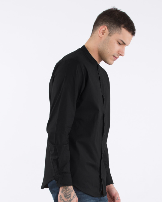 Shop Jet Black Mandarin Collar Shirt-Back