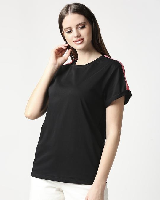 Shop Jet Black-Misty Pink Side Panel Boyfriend T-shirt-Front