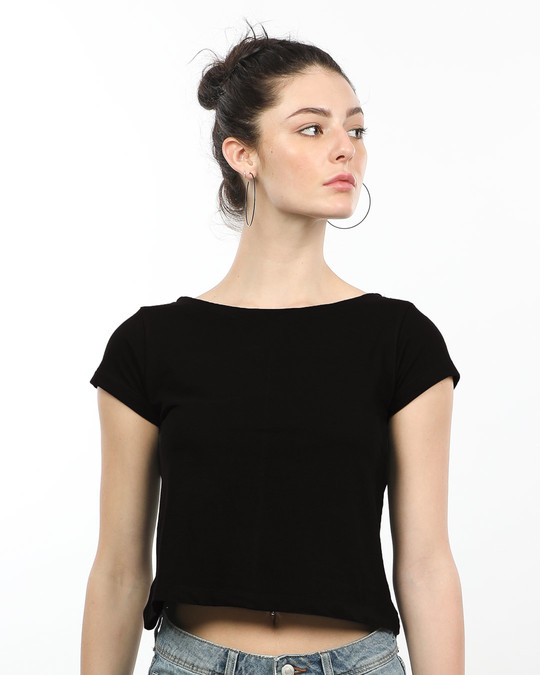 Shop Jet Black Pique Cropped Top-Front
