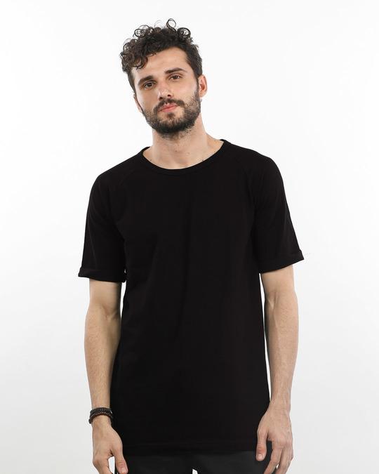 Shop Jet Black Longline Pique T-Shirt-Front