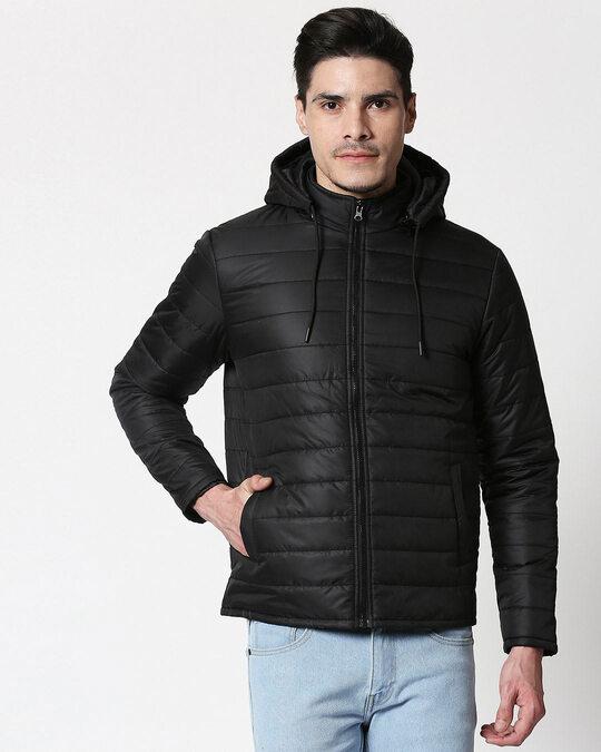 Shop Jet Black Plain Puffer Jacket with Detachable Hood-Back