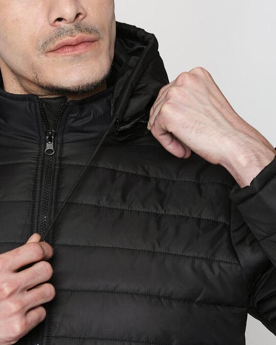 Shop Jet Black Plain Puffer Jacket with Detachable Hood