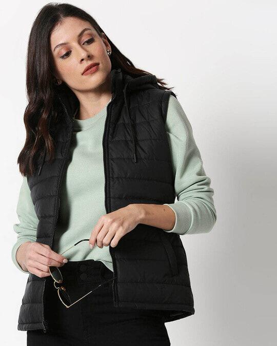Shop Jet Black Plain Sleeveless Puffer Jacket with Detachable Hood-Front