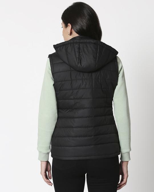 Shop Jet Black Plain Sleeveless Puffer Jacket with Detachable Hood-Full