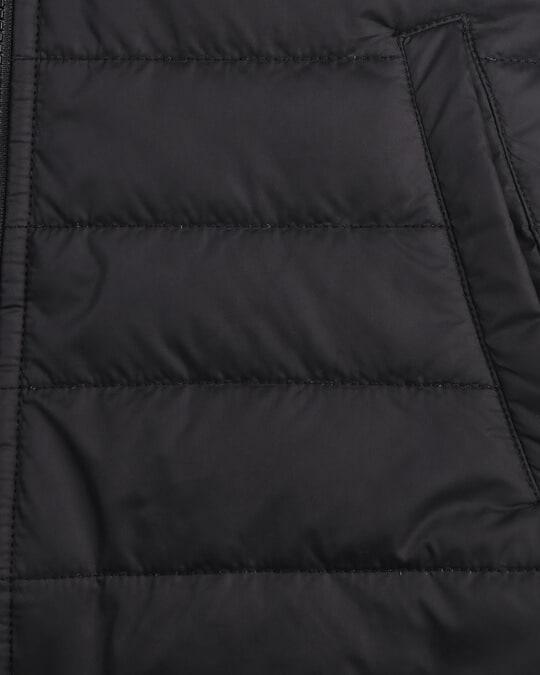 Shop Jet Black Plain Sleeveless Puffer Jacket with Detachable Hood