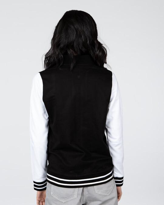 Shop Jet Black Plain Varsity Plain Jacket-Full