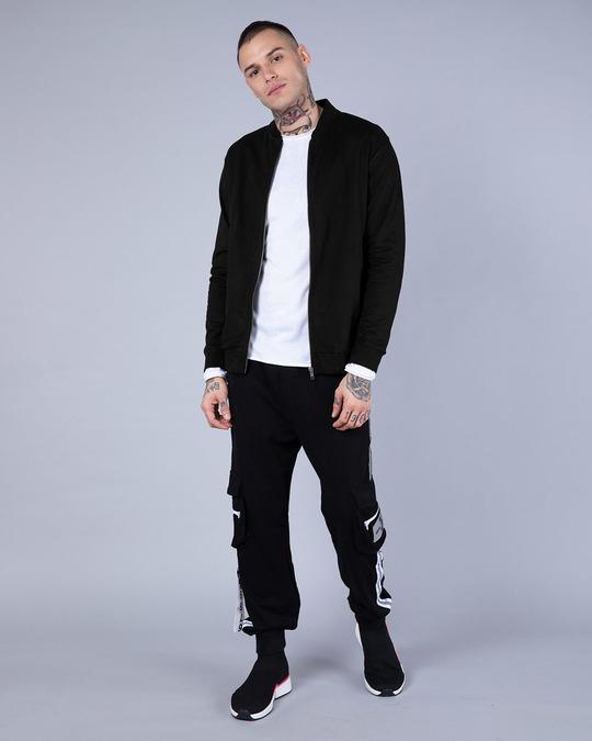 Shop Jet Black Plain Zipper Bomber Jacket-Full