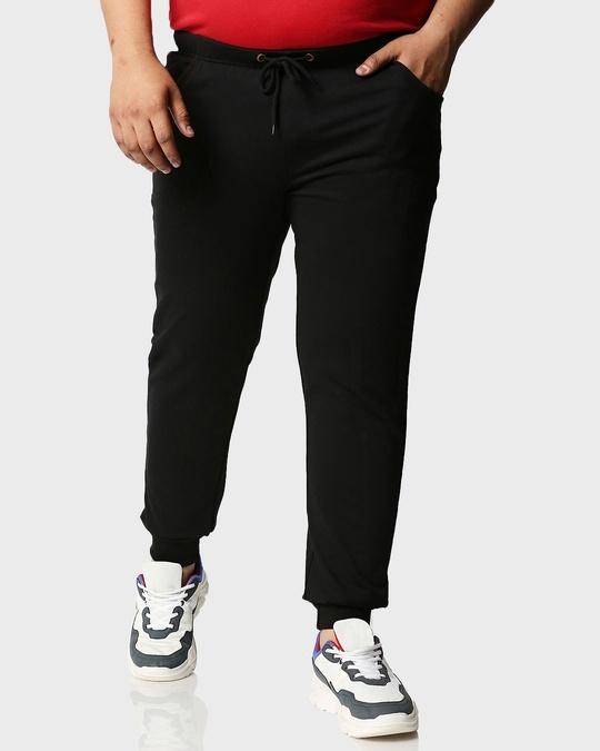 Shop Jet Black Plus Size Casual Jogger Pants-Back