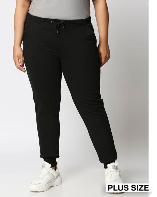 Shop Jet Black Plus Size Casual Jogger Pants-Front