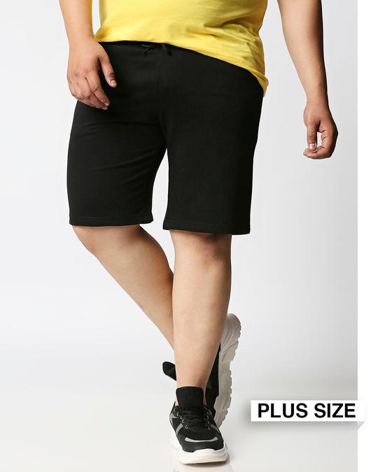 Shop Jet Black Plus Size Casual Shorts-Front
