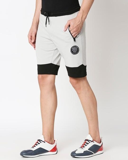 Shop Jet Black-Quiet Grey Plain Fashion Collabs Zipper Shorts-Design