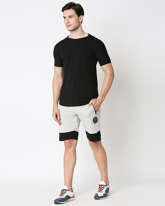 Shop Jet Black-Quiet Grey Plain Fashion Collabs Zipper Shorts