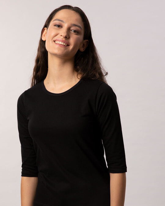Shop Jet Black Round Neck 3/4th Sleeve T-Shirt-Front