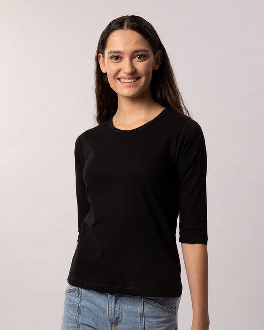 Shop Jet Black Round Neck 3/4th Sleeve T-Shirt-Full