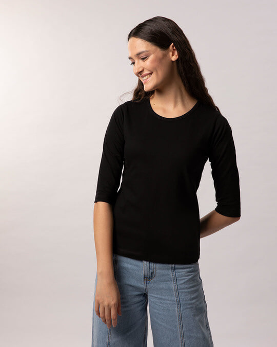 Shop Jet Black Round Neck 3/4th Sleeve T-Shirt