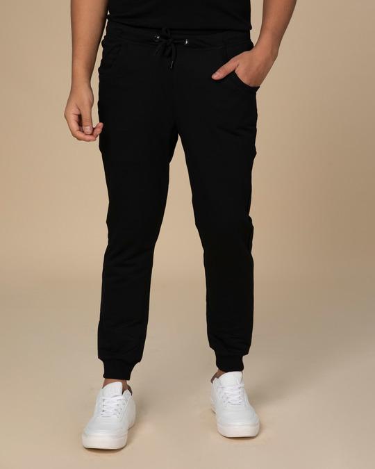 Shop Jet Black Round Pocket Fleece Joggers-Back