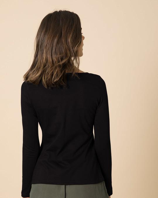 Shop Jet Black Scoop Neck Full Sleeve T-Shirt-Full