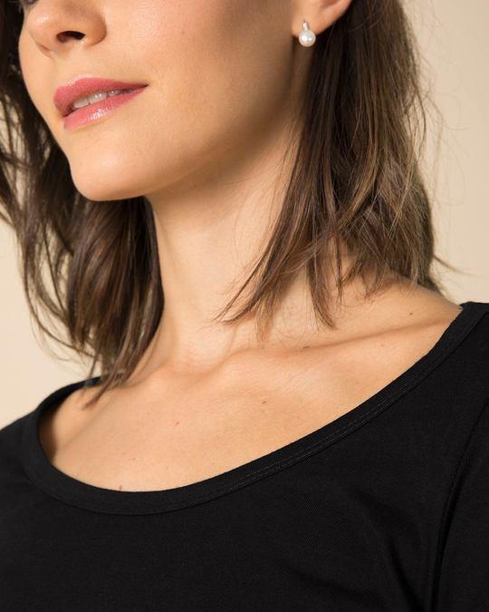 Shop Jet Black Scoop Neck Full Sleeve T-Shirt