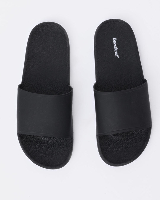 Shop Women Jet Black Sliders-Back