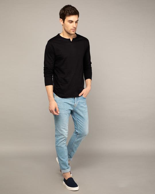 Shop Jet Black Slit Neck Full Sleeve Henley T-shirt-Full
