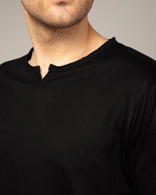 Shop Jet Black Slit Neck Full Sleeve Henley T-shirt