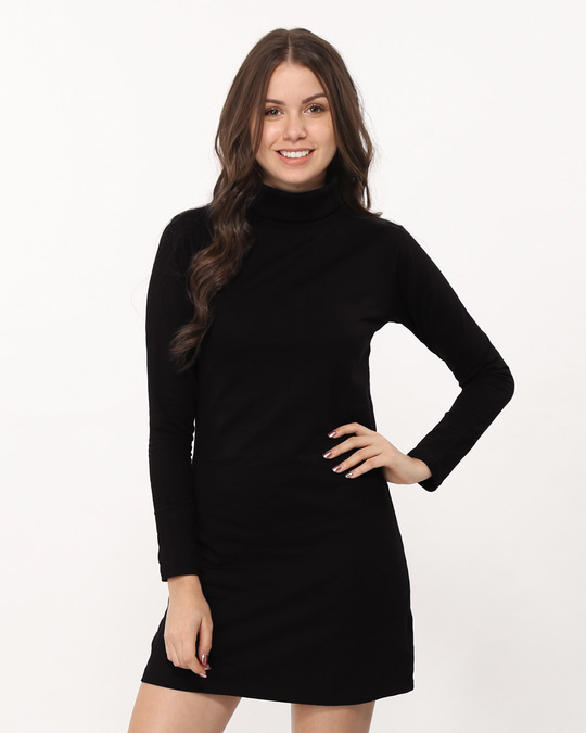 Shop Jet Black Turtle Neck Fleece Dress-Front