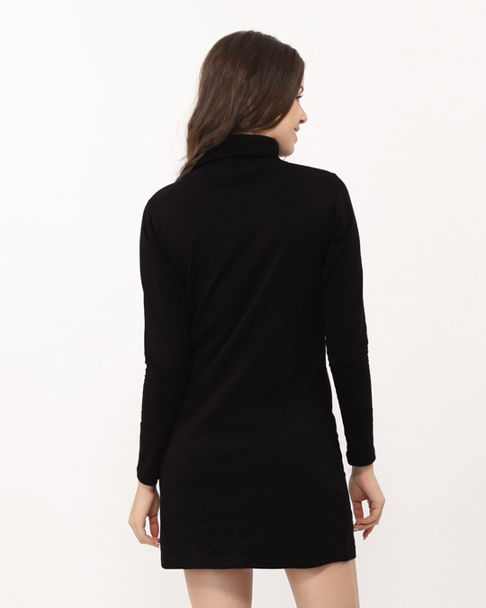 Shop Jet Black Turtle Neck Fleece Dress-Design