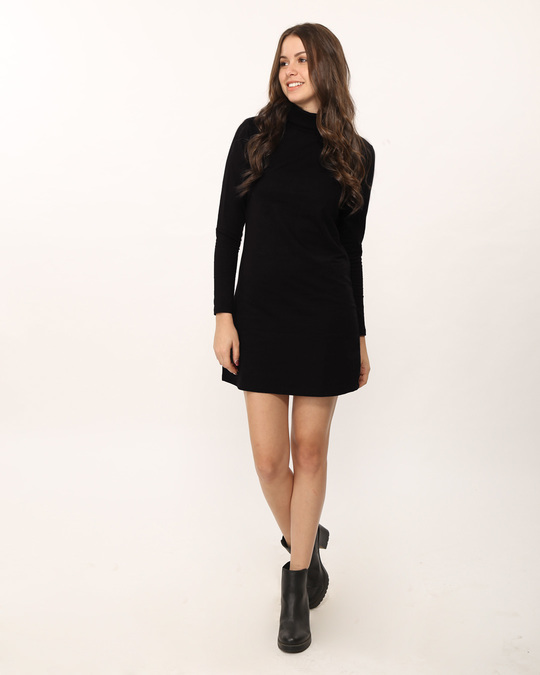 Shop Jet Black Turtle Neck Fleece Dress-Full