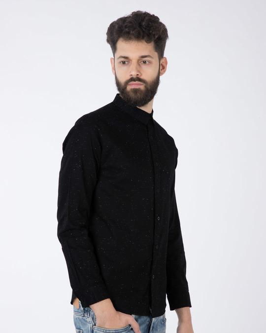 Shop Jet Black Neps Slim Fit Full Sleeve Shirt-Back