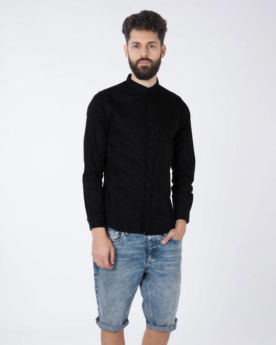 Shop Jet Black Neps Slim Fit Full Sleeve Shirt-Full